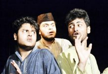 A scene from the play 'Topian' staged at Jammu on Sunday.