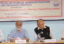 Ex DG DRDO and others during a lecture by IIPA at Jammu on Tuesday.