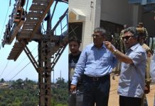 Advisor to Governor, Khurshid Ahmed Ganai inspecting Bahu-Mahamaya-Peerkho cable car project on Tuesday.