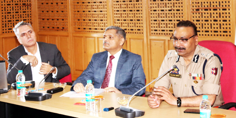 DGP Dilbag Singh chairing a meeting at Srinagar on Wednesday.