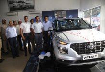 DDC Jammu Ramesh Kumar unveiling Hyundai Venue at Pace Hyundai at Gandhi Nagar in Jammu.