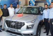 Officials of Hyundai Motor India Limited and Shuhul Hyundai Showroom during launch of Hyundai Venue at Jammu on Tuesday. -Excelsior/Rakesh