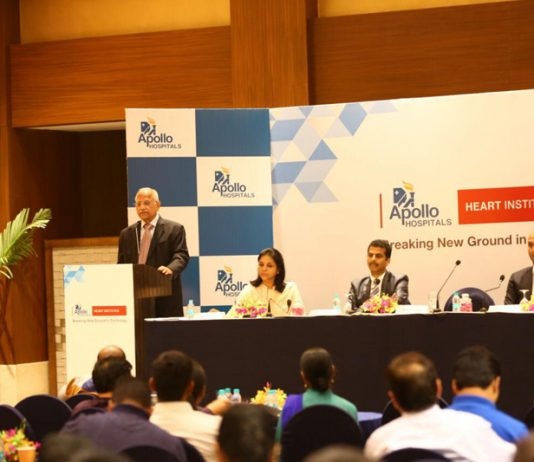 Dr Prathap C Reddy, Founder and Chairman, Apollo Hospitals Group speaking at a function.