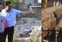 Divisional Commissioner Jammu, Sanjeev Verma inspecting sewerage projects on Tuesday.