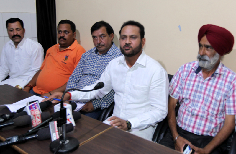 Inhabitants of Phallian Mandal addressing a press conference at Jammu on Monday. -Excelsior/Rakesh