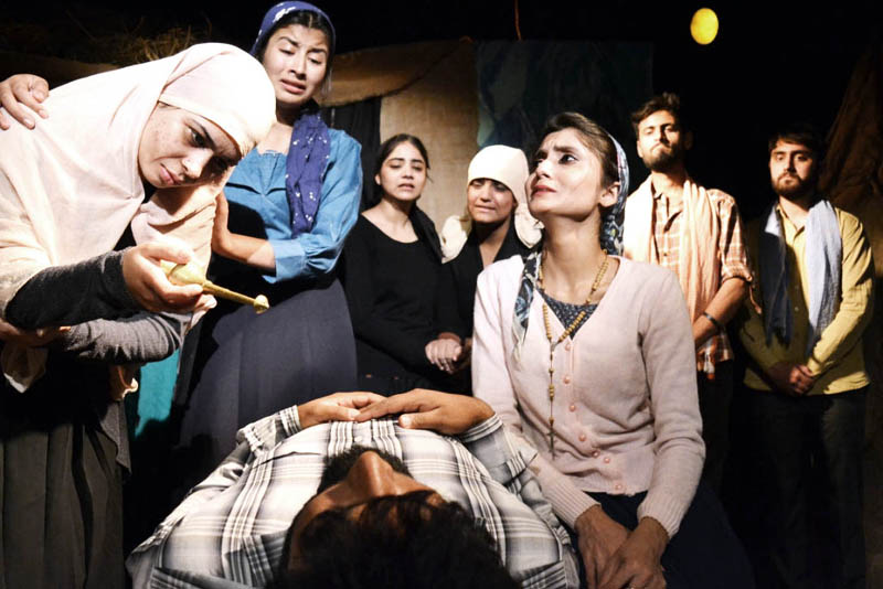A scene from the play 'Riders to the Sea' staged at Jammu on Wednesday.