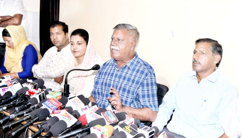Former Minister Sukhnandan Choudhary interacting with media persons at Jammu on Tuesday. -Excelsior/Rakesh
