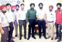 Director, CAD Point, Navjot Singh posing with faculty members of MBSCET.