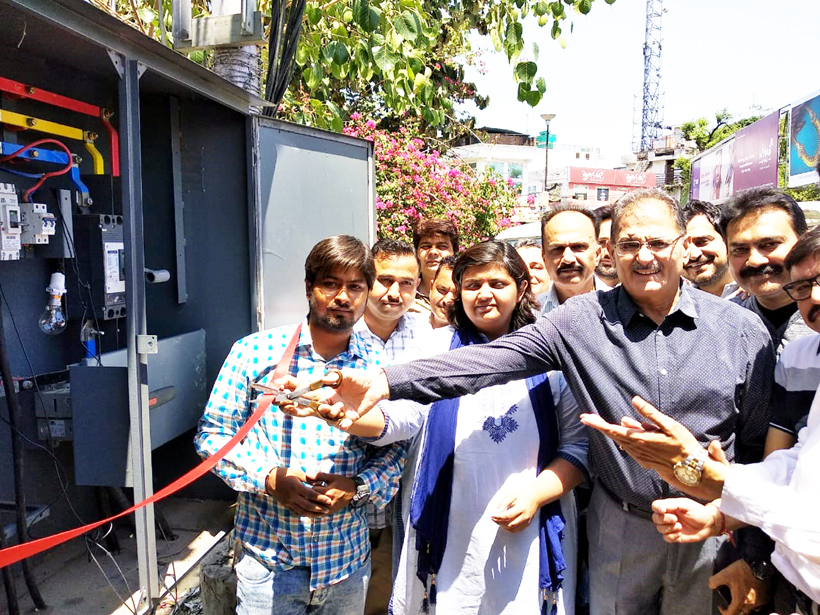 Kavinder Gupta inaugurating newly installed transformer at Gandhi Nagar on Saturday.
