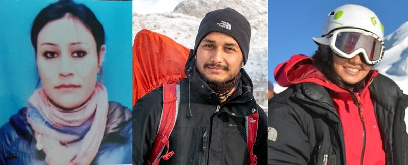 Ace mountaineers Stanzin Youthog, Manik Slathia and Ambreen Fatima.