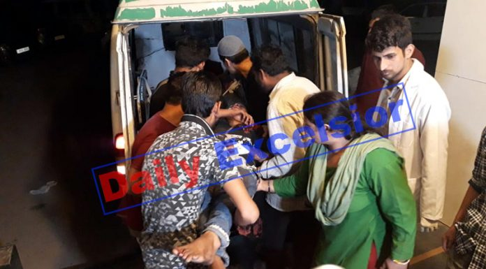 An injured being shifted to Jammu from District Hospital Doda. -Excelsior Photo