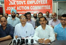 Senior EJAC members addressing joint press conference in Jammu on Friday. — Excelsior/Rakesh