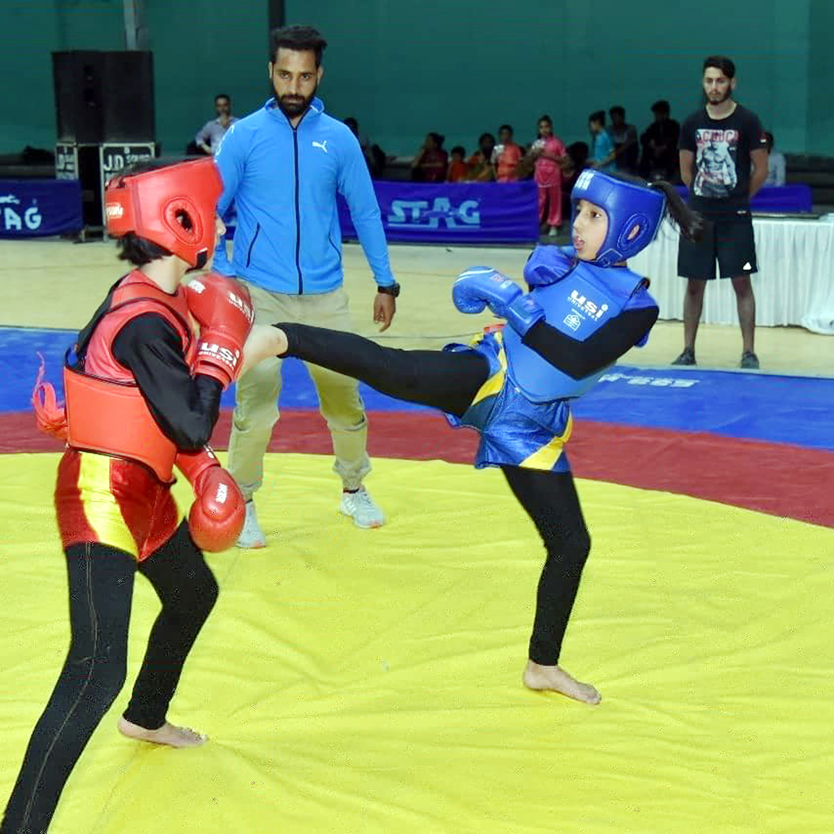 Wushu players in action.