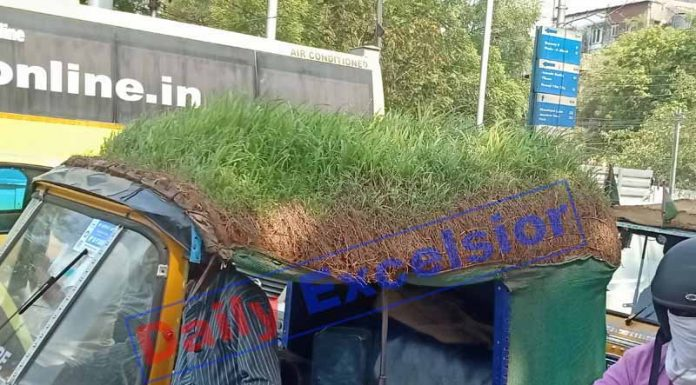 An auto-rickshaw seen with the green grass planted on its top as a heat protector from the scorching heat in Secunderabad. (UNI)