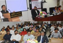 Justice Sanjeev Kumar addressing one-day training programme on 'Cyber Law' on Sunday.
