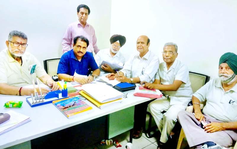 Executive members of FCIREWA J&K region during a meeting at Jammu.