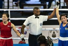 Referee declaring Mary Kom a winner during a semifinal match at Guwahati on Thursday.