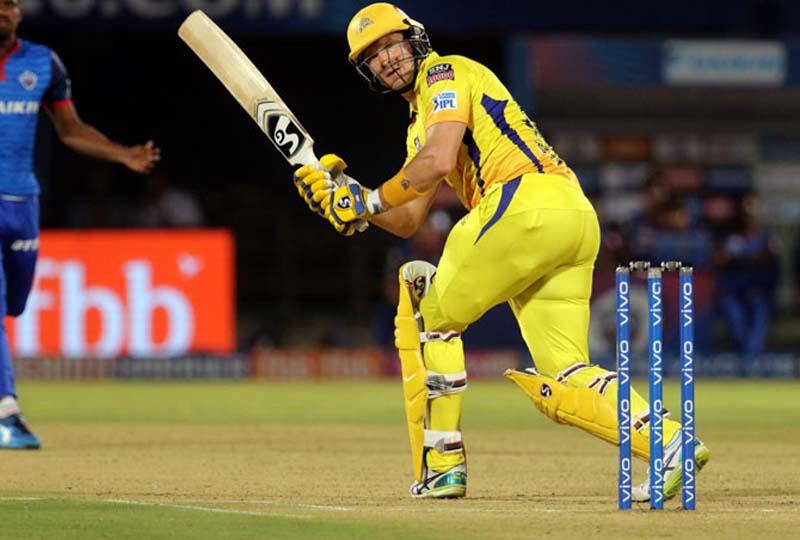 CSK's Shane Watson executing the shot during his knock of 50 runs against Delhi Capitals on Friday.