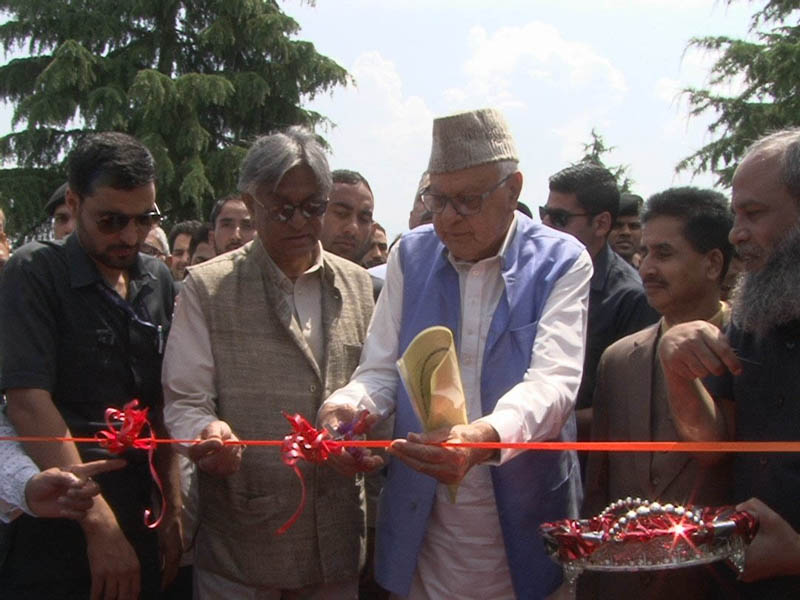 National Conference President Dr Farooq Abdullah and other dignitaries inaugurating 23rd All India Urdu Book Fair at Kashmir University on Saturday.