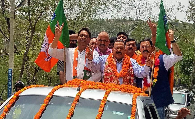 Union Minister Dr Jitendra Singh being taken out in a victory procession on his arrival at Reasi on Saturday.