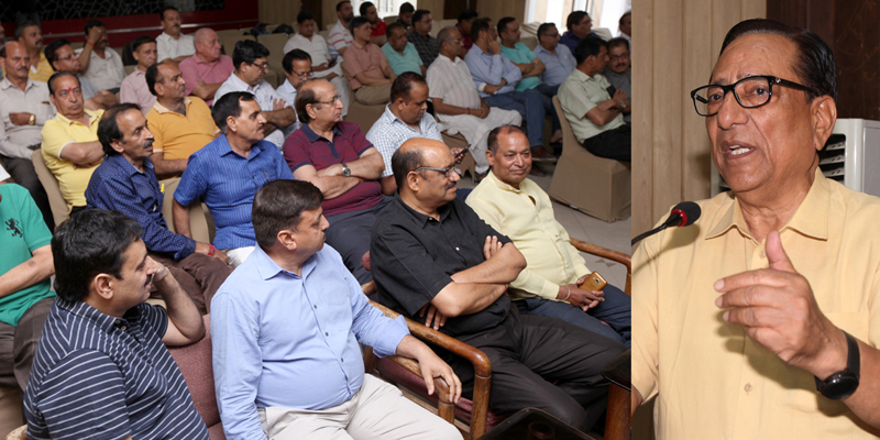 Former JCCI president Y V Sharma addressing members of 'Save Jammu Chamber Forum' at a meeting in Jammu on Saturday. -Excelsior/ Rakesh