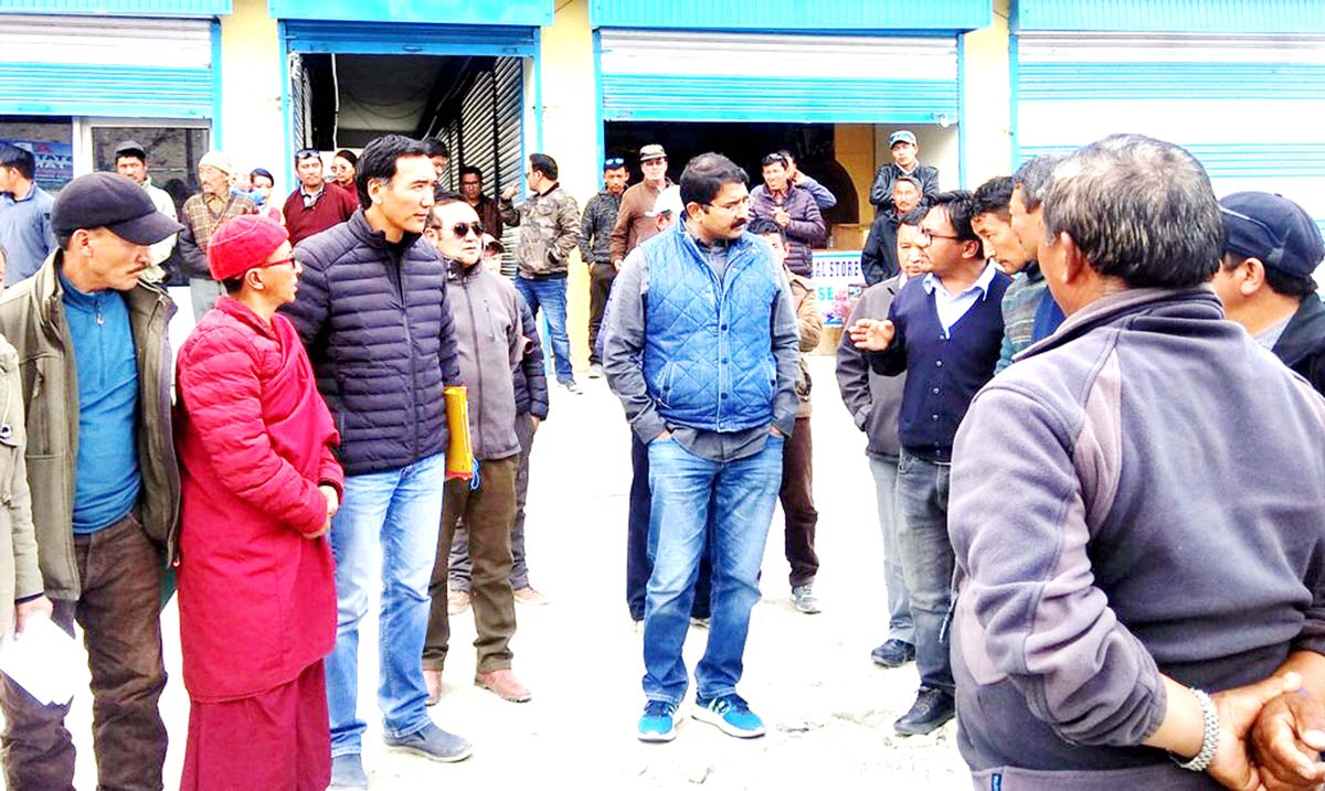 Divisional Commissioner Ladakh, Saugat Biswas interacting with public at Tangtse in Leh.