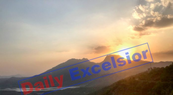 Panoramic view of Sunrise behind the mountains of Reasi. -Excelsior/Karandeep