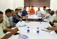 BJP leaders during a meeting at Party Headquarters, Trikuta Nagar on Thursday.