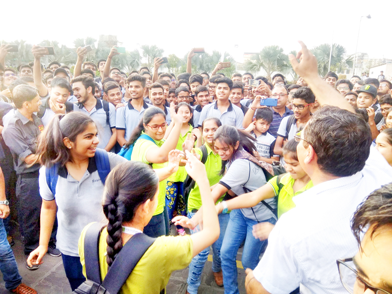 Students of Resonance cheer after getting selected in JEE (Advanced), the result of which was declared recently.