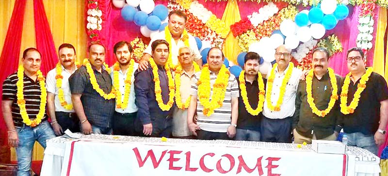 New team of Hardware, Paints and Sanitary Dealers Association posing for a group photograph at Jammu on Sunday.