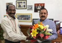 ISRO Chairman Dr K. Sivan calling on Union Minister Dr Jitendra Singh at New Delhi.