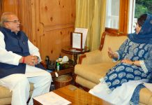 PDP president Mehbooba Mufti in a meeting with Governor Satya Pal Malik in Raj Bhavan at Srinagar on Tuesday.