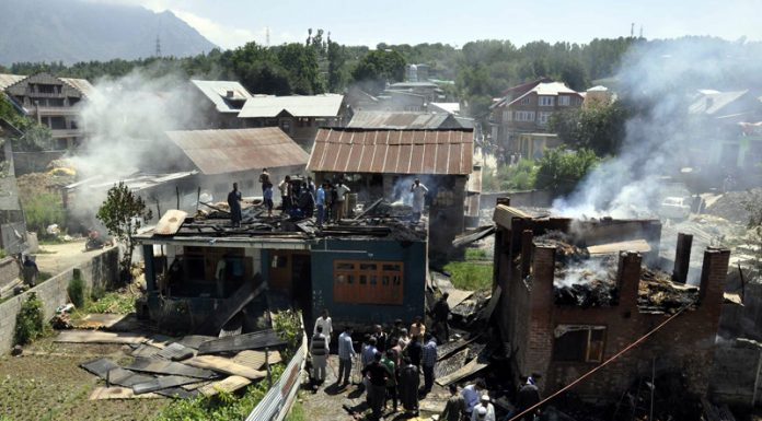 Site of the encounter at Bijbehara in Anantnag on Tuesday. -Excelsior/Sajjad Dar