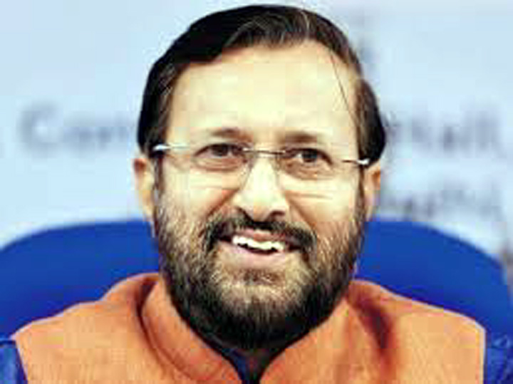 Union Minister for Environment, Forest & Climate Change, Information & Broadcasting and Heavy Industries and Public Enterprise, Prakash Javadekar addressing after releasing the Reference Annual book 'Bharat-2020' and 'India-2020', published by Publications Division, in New Delhi on Wednesday.
