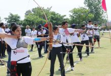 Archers in action while celebrating 13th Foundation Day of Aryan Group of Colleges.