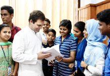 Congress President Rahul Gandhi meeting various delegations at MPs Facilitation Centre at Wayanad Collectorate Office, in Kerala on Saturday. (UNI)