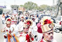Devotees taking out a procession on Kabir Jayanti in Jammu on Monday.