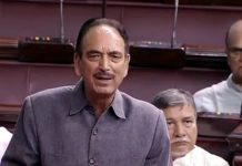 Senior Cong leader Ghulam Nabi Azad speaking in Rajya Sabha on Monday.