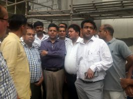 Divisional Commissioner, Jammu, Sanjeev Verma and Ex MLA, Rajesh Gupta inspecting construction of Parking Project at Jammu Bus Stand on Tuesday.