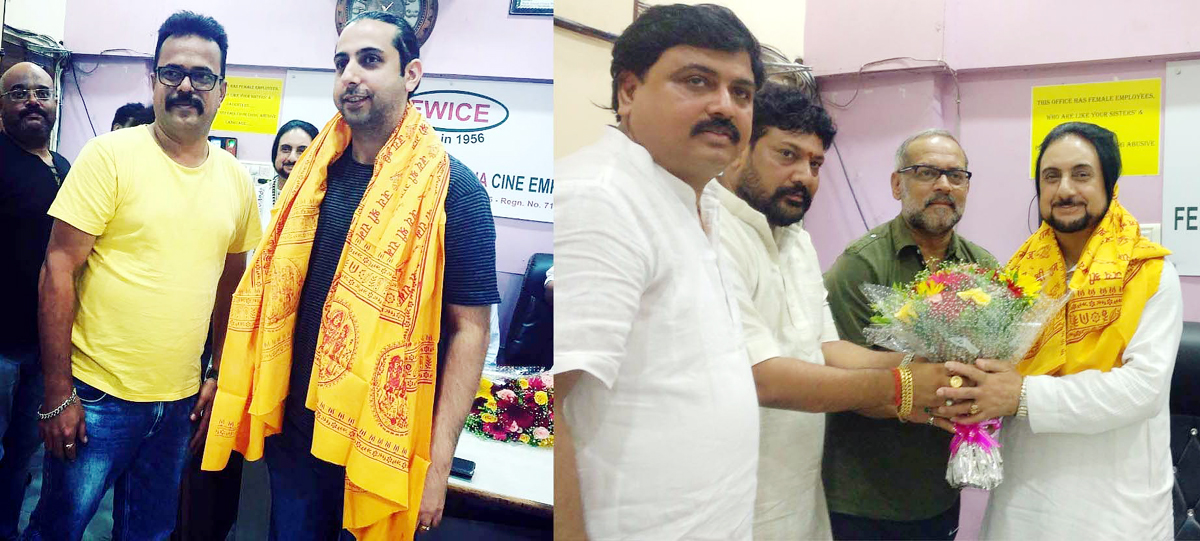 FWICE felicitating Bhajan Sopori and Abhay Rustum Sopori in Mumbai.