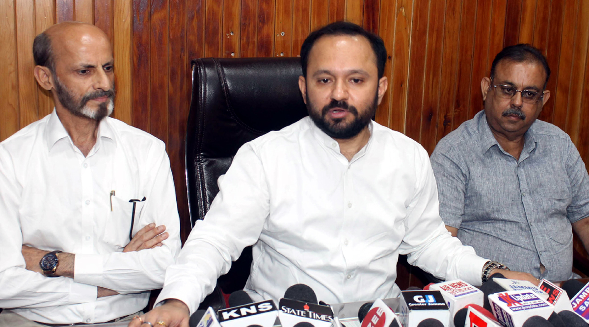 Advocate Ankur Sharma addressing a press conference at Jammu on Thursday.
