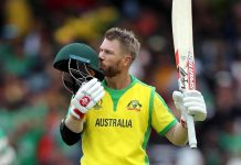 Australian batsman David Warner celebrates his century against Bangladesh during ICC Cricket World Cup match at Trent Bridge Ground in Nottingham on Thursday. (UNI)