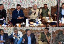 Advisor Vijay Kumar and Chief Secretary chairing a meeting at Ganderbal on Thursday.