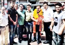 MLC Vikram Randhawa after inaugurating a Fitness Centre at Jammu on Monday.