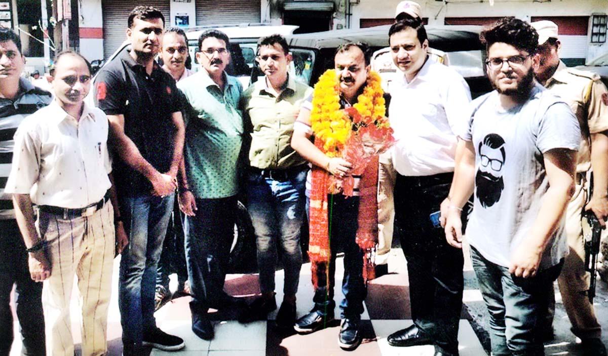 MLC Vikram Randhawa after inaugurating a Fitness Centre at Jammu on Monday.