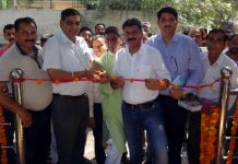 JMC Mayor inaugurating a view point near A.G office at Canal Road in Jammu on Monday.