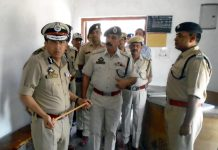 DG Prisons V K Singh during visit to Central Jail at Srinagar on Monday.