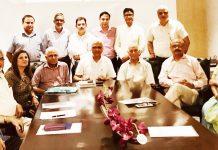The members of Global Kashmiri Pandit Diaspora during a meeting in New Delhi.