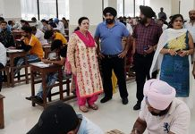 A team headed by Dr. Sunanda Raina Vice-President J&K State Paramedical Council and Principal and Dean GMC Jammu inspecting Examination Centre in Jammu.