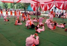 Girls being trained in different courses at Arya Veerangana Dal Camp in Udhampur on Monday.